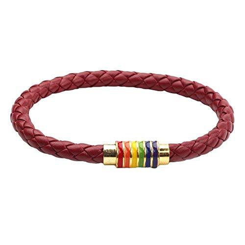 WanBeauty Cadena de pulsera, pulsera de cuero trenzado unisex cuerda de cuero arco iris hebilla magnética pulsera joyería - vino rojo oro*