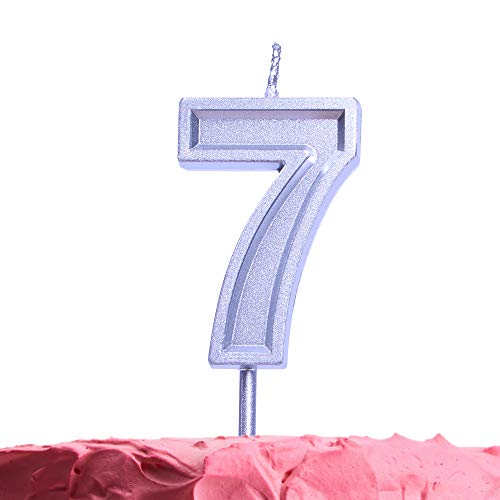 GET FRESH Number 7 Birthday Candle – Silver Number Seven Candle on Stick – Elegant Silver Number Candles for Birthday Wedding Anniversary – Baby's 7th Birthday Candle Cake Topper – Silver 7 Candle