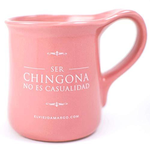 El Viejo Amargo | Taza para café | Taza para té | Taza con frase: Ser chingona no es casualidad (Rosa)
