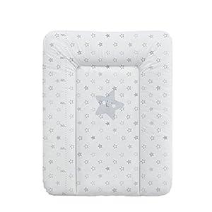 BabyCalin BBC510707 Wesentliche Wickelauflage mit Messstab, 50cm x 70cm, Hellgraue Sterne, mehrfarbig, 1 Stück