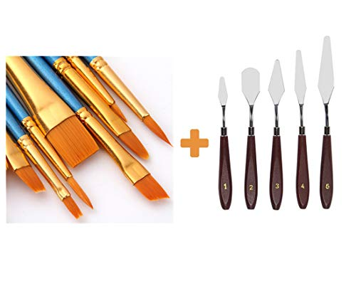 AOOK 15 Pieces Paint Brush Set,5PCS Palette Knife 10 PCS Watercolor Professional Paint Brushes Artist for Watercolor Oil Acrylic Painting (Blue+Palette Knife)