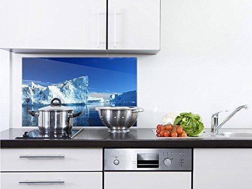 GRAZDesign Küchenrückwand Glas Winter, Spritzschutz Küche Glas EIS, Glasrückwand Küche Antarktis / 80x60cm