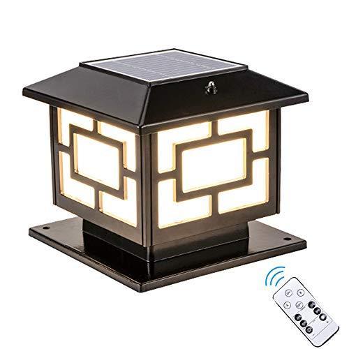 AWISAWIS Exterior Luz de Farola Solar, IP65 Impermeable Luces de Jardín con Control Remoto Lámpara de Exterior Pedestal Lámpara de Sobremuro para Jardín Caminos Faros de Columna,Negro,H:25cm