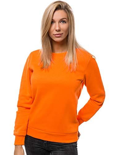 OZONEE Damen Sweatshirt Pullover Langarm Farbvarianten Oversized Langarmshirt Pulli ohne Kapuze Baumwolle Baumwollmischung Classic Basic Rundhals-Ausschnitt Sport JS/W01 ORANGE M