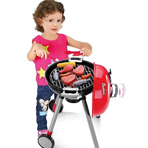 Juego de juguete de simulación de cocina, juego de juguetes – Iluminación con sonido para barbacoa, gran variedad de barbacoas, cesta de la compra, casa de juegos para niños, niños y niñas