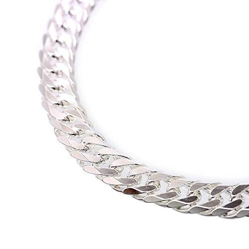 [シルバーワン] イタリア製 シルバー925 ダブル喜平ネックレス メンズ c6 [白銀色 6面ダブル 幅11mm太目 厚3mm 長60cm]