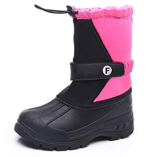 IceUnicorn Kinder Winterstiefel Jungen Mädchen Winterschuhe Schneestiefel Warm Gefütterte Outdoor Stiefel Winter Schuhe Snowboots(WM.Pink, 34EU)