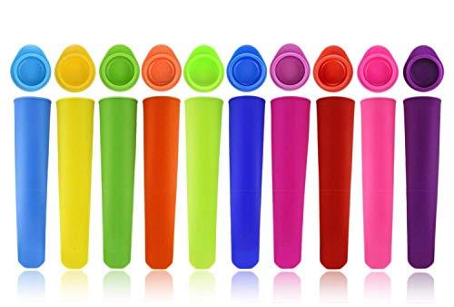 Joyoldelf Eisformen Silikon, 10 Stück Eis am Stiel Formen- Wiederverwendbare Stieleisformer aus 100{635805f0b0ddae0fbd642f74650ddec64c81ffb65d071b869a0bb11bf35abcc4} Lebensmittelsilikon - BPA Frei - Perfekt für Kinder und Erwachsene