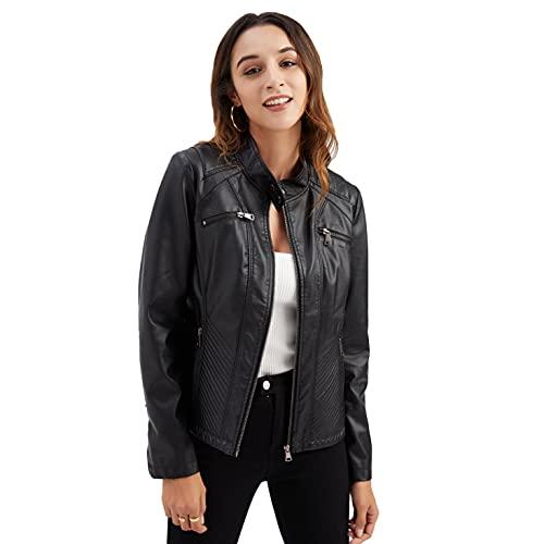 Chaquetas de cuero para mujer, Casual Stand Up Collar Chaqueta de piel sintética con cinturón Clásico Zip Up Motocicleta Biker Chaqueta Vintage Outwear Ajustado Slim Coat D03