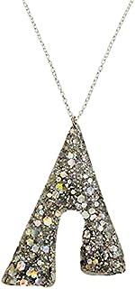 Aga Sequin Embellished Irregular Shaped Handmade Resin Pendant Sterling Silver Necklace for Women - Multi Color
