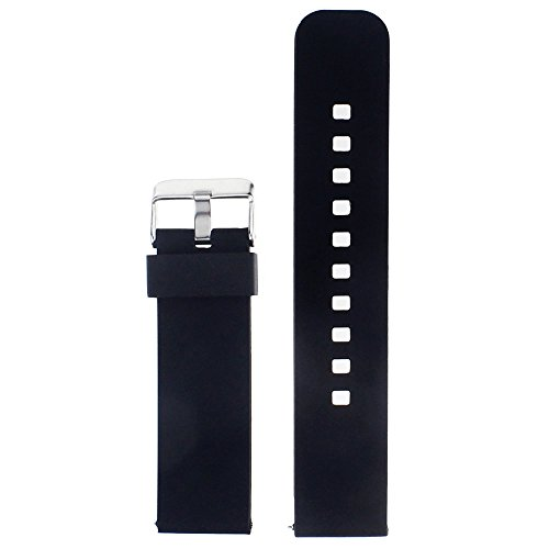 Watch Band Strap for Pebble Time Smartwatch Band Replacement Accessories with Metal Clasps Watch Strap Wristband Silicone (Black)