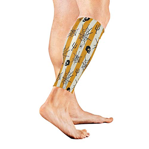 Leg Sleeve Halloween Spider Web Skull Seamless Pattern Compression Socks Support Non Slip Calf Sleeves Pads for Running, Shin Splint, Calf Pain Relief, Runners, Medical, Air Travel, Nursing, Cycling 1