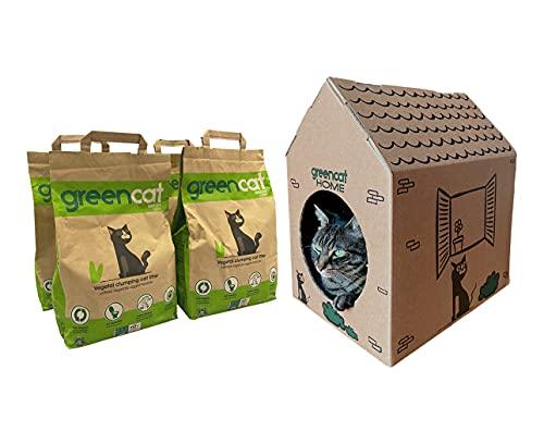 Greencat Home casetta ecologica + Greencat lettiera per Gatti a Base d'orzo (4 X 6 litri)