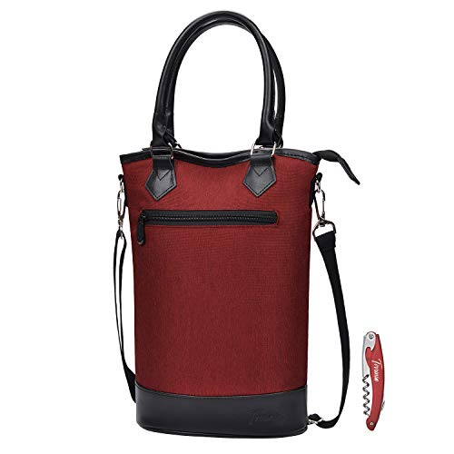 Tirrinia Insulated Wine Carrier Tote - Travel Padded 2 Bottle Wine/Champagne Cooler Bag with Handle and Adjustable Shoulder Strap + Free Corkscrew, Great Wine Lover Gift, Red