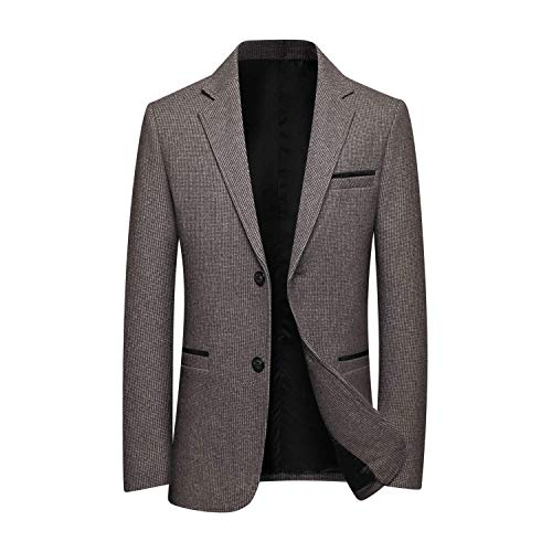 Men's 2 Button Luxe Camel Hair Suit Jacket Sport Coat Blazer Overcoat Outwear (Khaki,Medium)
