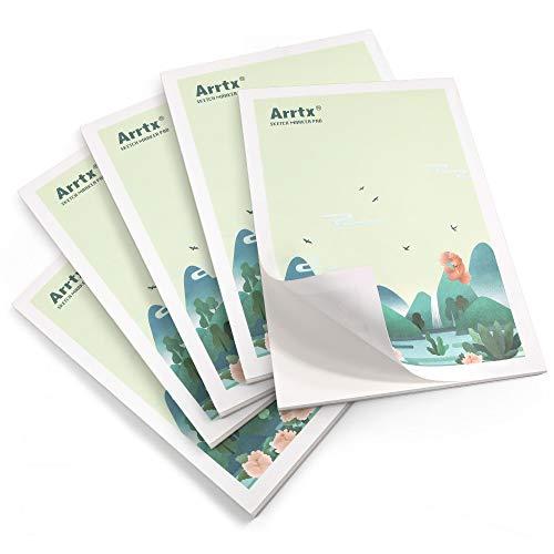 Arrtxマーカー用紙A4サイズ(210 x 297mm)、30枚、アートマーカー用56ポンド、アルコールマーカー、鉛筆、ASM-MP-01A4スケッチ、描画、着色、デザインに適したドライ消去マーカー用紙 (5個入り)