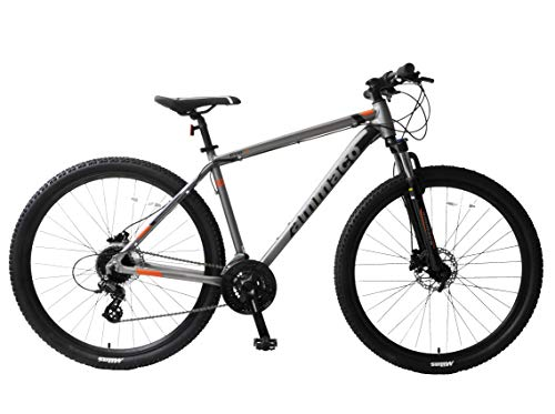 Ammaco. Evo V 29er 29' Wheel Mountain Bike 24 Speed Hydraulic Disc Brakes Hardtail Front Suspension Gunmetal Alloy 19' Frame