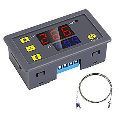 YEMIUGO Temperature Controller Module DC 12V Programmable Digital Thermometer Dual LED Display Thermometer with K-Type Thermocouple Thermostat High Precision Sensor Probe -60?-500?