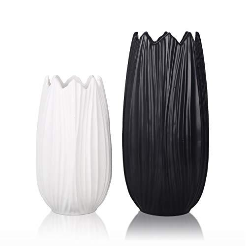 TERESA'S COLLECTIONS Vasi in Ceramica 21 / 28cm Vaso da Fiori Set di 2 Piccolo Bianco e Nero Vaso da Tavolo Moderno Vaso per Piante Soggiorno Deco Giardino Decorazione della Casa Come Regalo