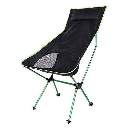 KaiKai Presidente de Ocio Luna Aluminium Chair Beach Taburete Plegable Pesca al Aire Libre Silla Silla Que acampa Plegable portátil Volver Tumbona Ultra Light (Color: Rojo) (Color : Green)