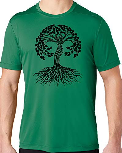 Men's Black Celtic Tree of Life Hot Yoga Tee Shirt, Extra Small Kelly Green