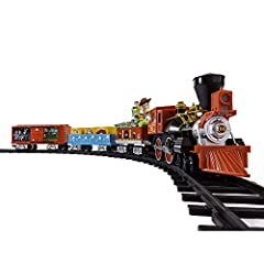 """Set Includes: Battery-powered locomotive, Buzz Lightyear """"Pizza Planet"""" tender, a gondola with character crate load, highly detailed boxcar with movie scene graphics, 24 curved and 8 straight plastic track pieces, RC Remote Control Locomotive Feature..."""