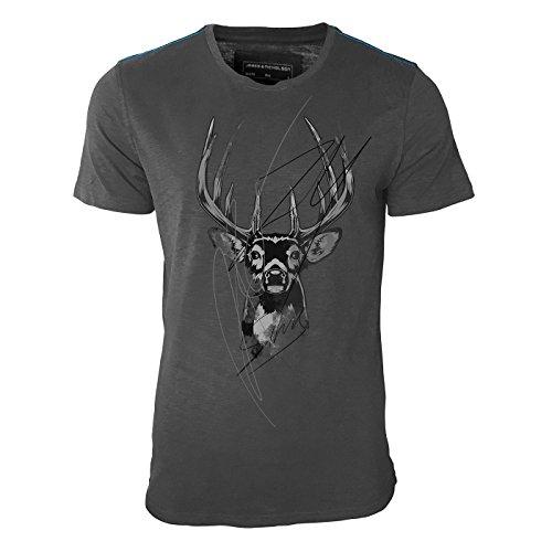 Sinus 74 Design – Hirschgeweih mit Schriftzug Herren Shirt in Graphite mit Blauer Schulternaht - James & Nicholson Premium Shirt – Design Paul Sinus