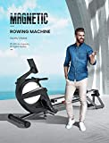 YOLEO Rowing Machine, Indoor Rower with Magnetic Braking System, 15 Resistance Levels, Double Aluminium Slider, LCD Screen Suitable for Home Fitness