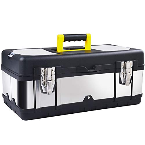 16-inch Tool Box Stainless Steel Consumer Storage with Removable Tool Tray Organizer and Tool boxes for Tool or Craft Storage,Locking Lid and Extra Storage.