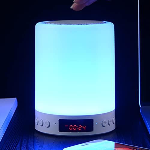 Lámpara de Mesa con Cambio de Color de Reloj Despertador Lámparas de Noche con Sensor Táctil Luz de Noche LED Regulable Bocina Bluetooth Reproductor de Música por Cuarto Sala de Estar Dormido