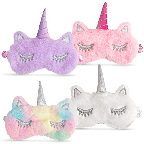 Unicorn Eye Mask For Sleeping Girl Kids, [4 Pack] Cute Soft Plush Rainbow With Horn, Girls and Woman Comfortable Night Blindfolds.