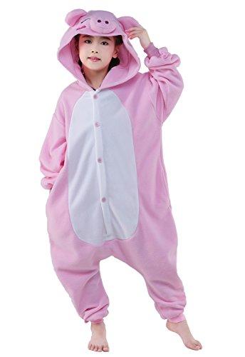 CANASOUR Kids Christmas Cosplay Onesie Animal Unisex Pajamas Children (4-10T) (125#(Size 10), Pink Pig)