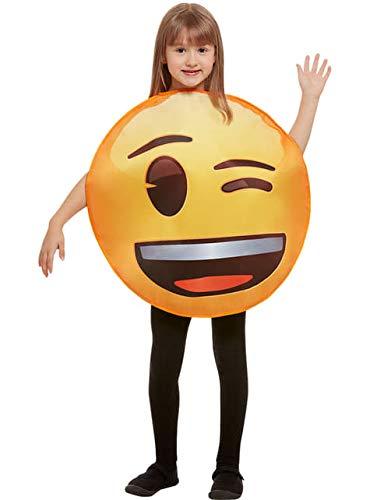 Funidelia | Costume da Emoji occhiolino Ufficiale per Bambina e Bambino Taglia 6-12 Anni ▶ Emoticon, Whatsapp, Originali e Divertente - Giallo