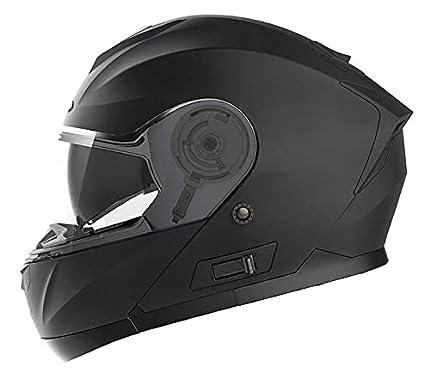 Casco Moto Modular ECE Homologado - YEMA YM-926 Casco de Moto Integral Scooter para Mujer Hombre Adultos con Doble Visera-Negro Mate-XL