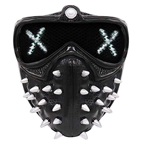 25 Emoji Changing Watch Dogs Marcus Mask with Rivet, Light Up Punk Devil Cosplay Legion Mask, Wrench Ghost Death PVC Masks