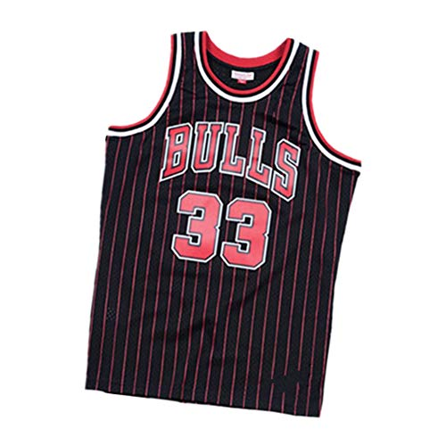 CXMY Pippen Bulls Men's Basketball Jersey-33#, Classic Embroidered Sleeveless Vests, Vintage Comfort Swingman Edition Jersey-Black-S