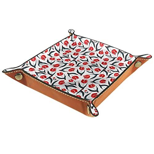 Bandeja de Cuero Red Tulip Art Fashion Retro Almacenamiento Bandeja Organizador Bandeja de Almacenamiento Multifunción de Piel para Relojes,Llaves,Teléfono,Monedas