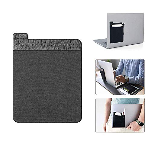 Tinydimple Adhesive Laptop Back Storage Bag, Stick-On Laptop Organizer, Portable External Hard Drive Carrying Case, Digital Accessories Storage Bag, Reusable Adhesive Storage (Black)