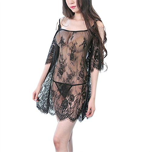 WuyiMC Women Lace Sleepwear Pajama Sexy Lingerie Transparent Babydoll Nightgown with G-String (Black)