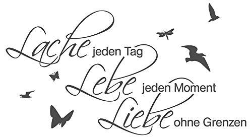 dekodino® Wandtattoo Spruch Motto Lache Lebe Liebe Wandsticker Dekoration