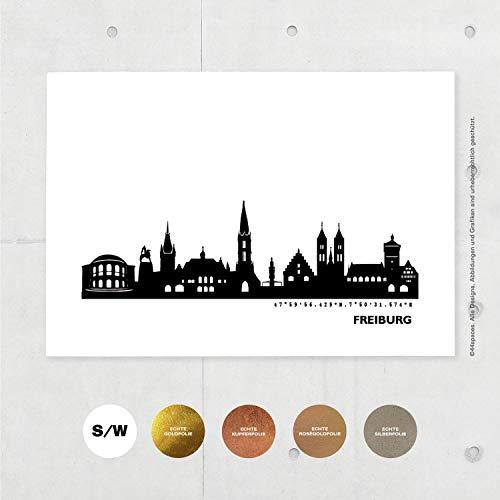 Freiburg Skyline Bild Personalisierte Geschenkidee Geburtstag Jubiläum Jahrestag Familie Kollegen, Moderne Deko Wandbild in S/W Rose Gold Silber Kupfer A4/A3