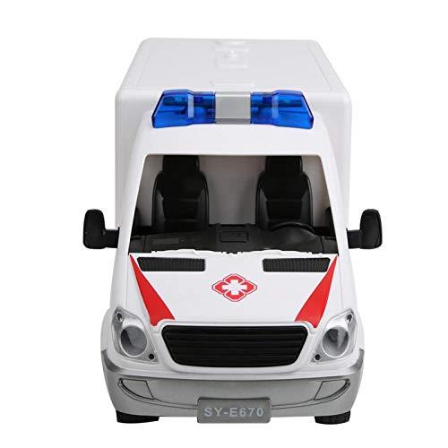 DAUERHAFT Horn Sound Kids Regalo de cumpleaños Simulación Ambulancia Coche Recargable con Apertura Manual para Regalo de más de 6 años(Red)