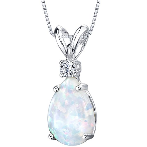 Peora Created White Opal with Genuine Diamond Pendant in 14K White Gold, Elegant Teardrop Solitaire, Pear Shape, 10x7mm, 1 Carat total