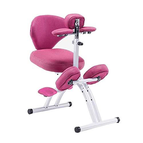 YANMUZI Silla De Rodillas Silla Ergonómica De Rodillas Profesional con Respaldo Silla De Oficina Ergonómica,Pink