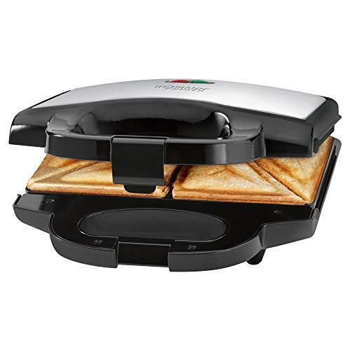 Bomann ST 1372 CB Sandwichtoaster, dreieckige Sandwichplatten mit Antihaftbeschichtung, automatischer Temperaturregler, Edelstahleinlage, schwarz