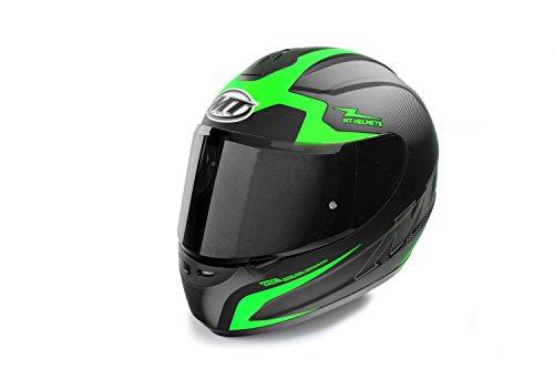 MT Helmets Motorradhelm Rollerhelm Thunder schwarz-orange/schwarz-grün, Größe XS, S, M, L, XL, XXL (ECE 22.05 geprüft!) (S, Grün/Visier schwarz getönt)