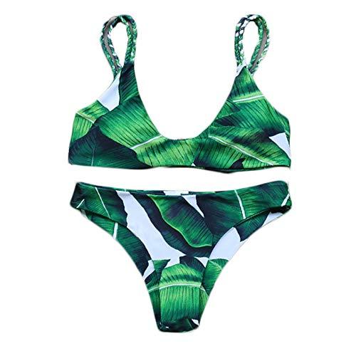 Dames Bikini Set Tweedelige Tankini Gebreide Blad Patroon Draad Gratis Badpak Badpak voor Surfen