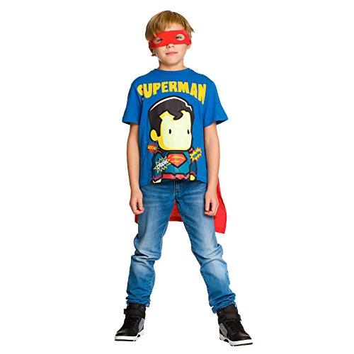 Superman T-Shirt con Mantello e Maschera Occhio DC Comics Cotone Blu Rosso - 140
