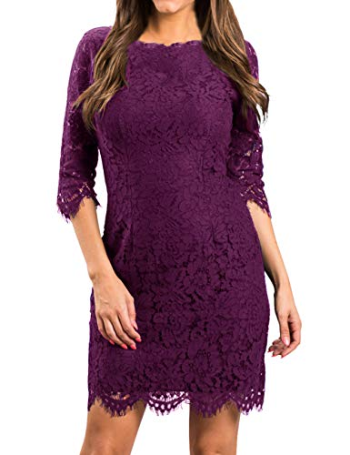 MEROKEETY Women's Elegant Lace Floral 3/4 Sleeve Cocktail Party Bodycon Dress (Apparel)