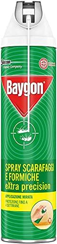 Baygon Spray con Cannuccia Extra Precision, Efficacie contro Scarafaggi e Formiche, Protezione Continua fino a 4 Settimane, 1 Confezione da 400 ml